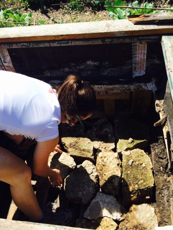 Repurposing old concrete blocks as drainage